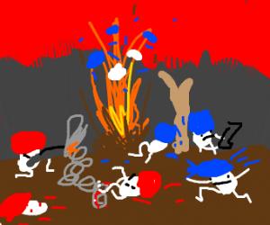 Mushrooms are having war