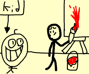 Kid staring at you while painting with red