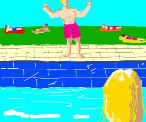 Blonde sees impostor in swim trunks