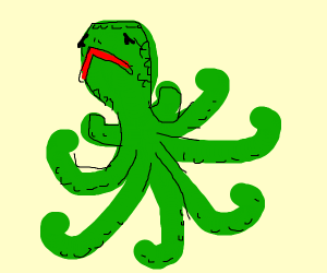 Green Octopus with turtle head