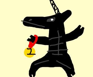 Black muscular unicorn's won a medal.