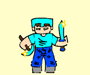 Diamond pickaxe and sword Minecraft and Steve
