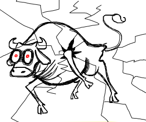 possesed cow is braking the 4th wall