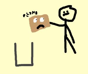 Man disposes cardboard