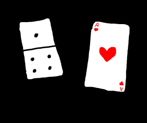 A domino and the ace of hearts