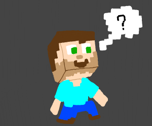 a Minecraft man asking a question