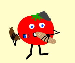 French tomato holding sausage & baguette