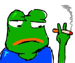 pepe smokes a cig