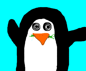 Penguin chewing on Grass