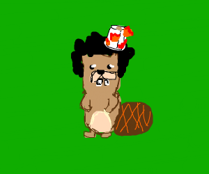 Beaver with an afro burning toilet paper