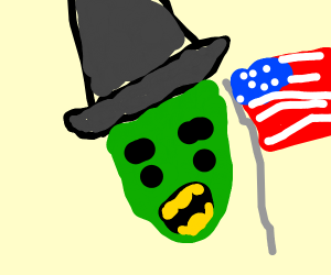 Witch of the west w yellow teeth and us flag