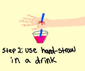 Step 1: insert straw through hand