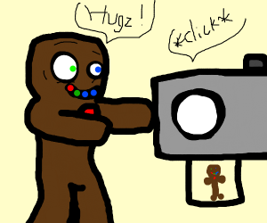 creepy cookie trying to give camera a hug