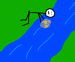 man puting a pan in a river to get gold