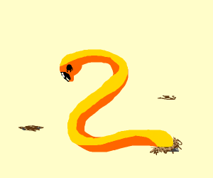 a yellow worm with black eyes
