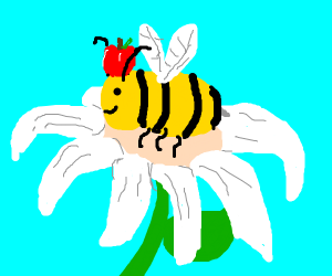 Bee on a flower with an apple on its head