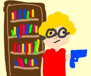 Librarian with a blue gun