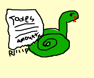 snake committing tax evasion