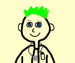 Doctor with spiky hair