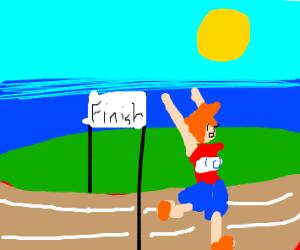 a sportsman finish his marathon! (congrats!)