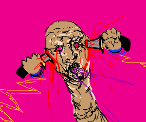 SCP 173 stabbing knives into his ears