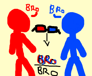 Red bro and blue bro have a conversation