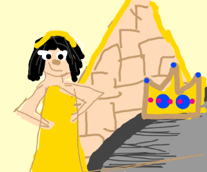 Royal Egyption girl made a crown on a rock