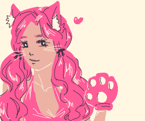 pink hair catgirl with paws