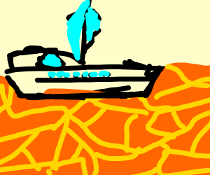 Yacht on lava