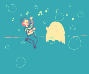 Sailor and his ghost disco dance with bubbles