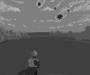 Meteoroids destroying the world