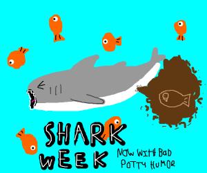 In honor of shark week, a shark pooping!