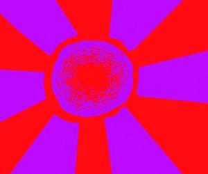 Red sun, purple rays