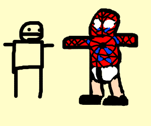 Half-naked Spider-Man approaches a civillian