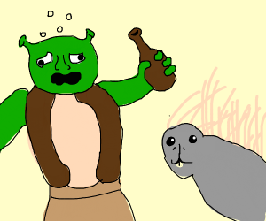 Shrek gets drunk with a... porcupine?
