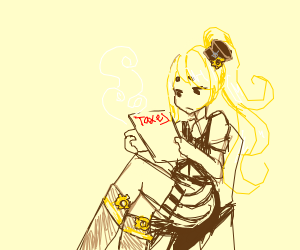 steampunk girl doing taxes
