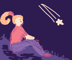 Girl with shrimp ponytail sees shooting star