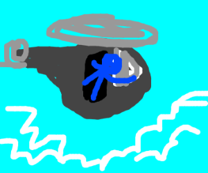 Blue man flying helicopter