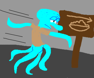 Squidward running to the Superbowl