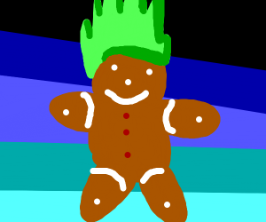 ginger bread with green hair
