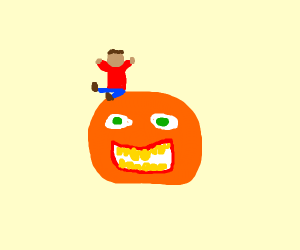 Person sitting on an Orange