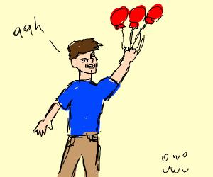 Kids flies away with balloon
