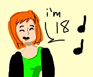 Woman singing I'm 18
