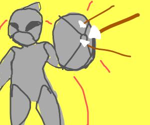 knight deflects arrows off sheild