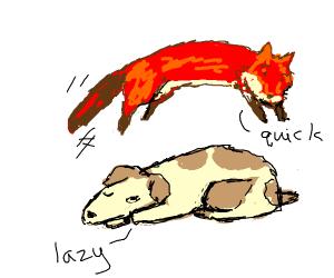 Fox jumps over sleeping dog