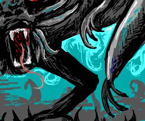 erm black monster with like 4 limbs aaa