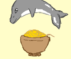 Dolphin jumping over a bowl of spoogetti