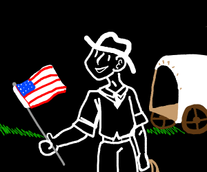 pioneer holding a flag