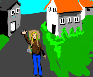 Girl with backpack waving