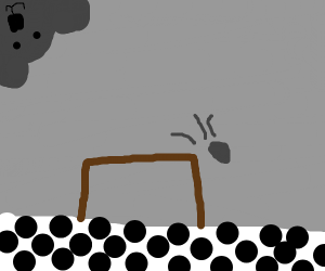 Sloth sees a rock falling off a table